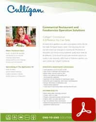 Commercial food service and restaurant water applications brochure icon by Culligan of Reno, NV